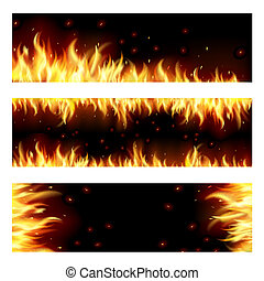 Set of backgrounds with flame.