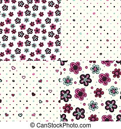 set of backgrounds with flowers and hearts