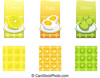 Set of backgrounds with food