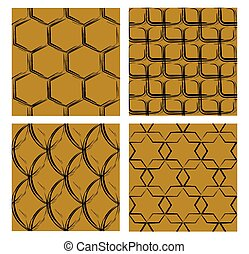 Set of backgrounds with grunge patterns, black curves on golden background, different shapes, hexagon, square, oval, star