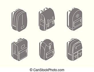 Set of backpacks isometric icons in 3D design vector illustration isolated on white background. Back to school concept stock vector