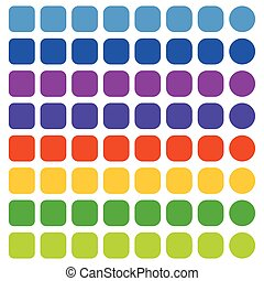 Set of badge, button backgrounds in more colors with blank space (Square to rounded)