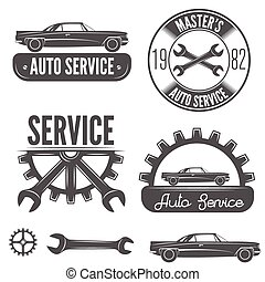 Set of badge, emblem and label element for mechanic, garage, car repair or auto service