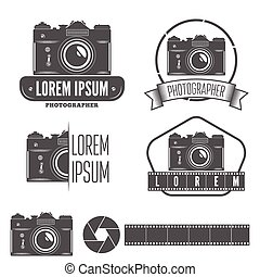Set of badge, emblem, label and elements for studio or ...