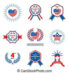 Set of badge for Independence day of USA