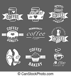 Set of badges and labels elements for coffee