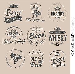 Set of badges and labels for alcohol drinks.