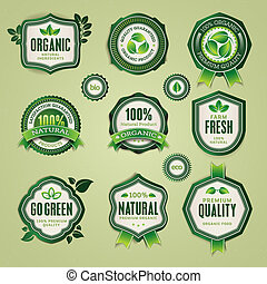 Set of badges and labels - Set of organic and natural badges...