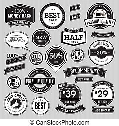 Set of badges and ribbons for sale - Set of vector badges...