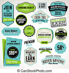 Set of badges and stickers - Set of affiliate and referral...