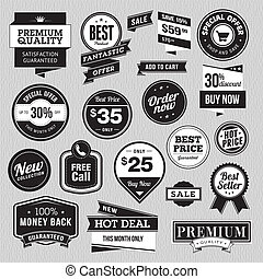 Set of badges and stickers for sale - Set of vector badges ...