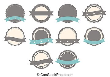 Set of badges, labels and logo template with ribbons. Collection