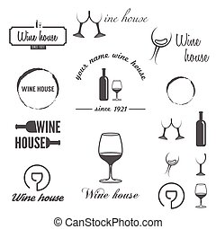 Set of badges, labels, logo and logotype elements for wine, winery or wine house