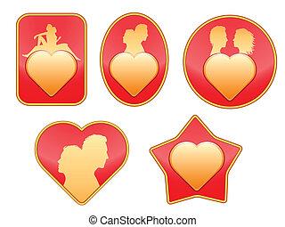 Set of badges on love.