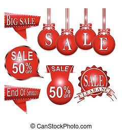 Set of badges, sale red label, tag illustration