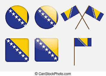 badges with flag of Bosnia and Herz - set of badges with...