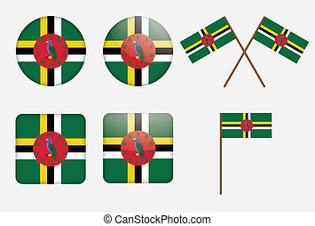 badges with flag of Dominica