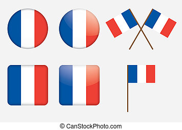 badges with flag of France