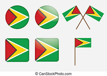 badges with flag of Guyana