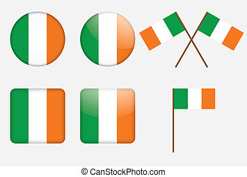 badges with flag of Ireland