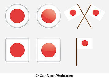 badges with flag of Japan