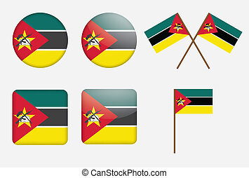 badges with flag of Mozambique