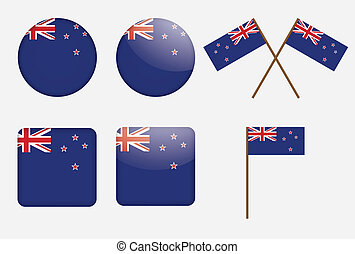 badges with flag of New Zealand