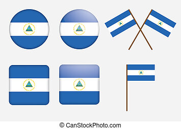 badges with flag of Nicaragua