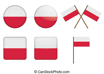 badges with flag of Poland