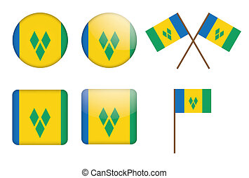 Saint Vincent and the Grenadines - set of badges with flag...