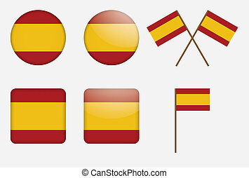 badges with flag of Spain