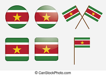 badges with flag of Suriname