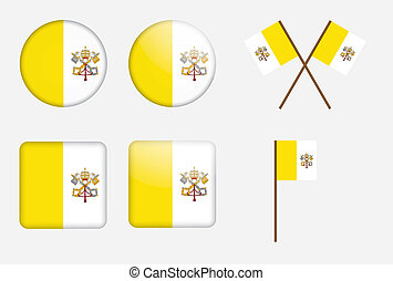 badges with flag of Vatican City