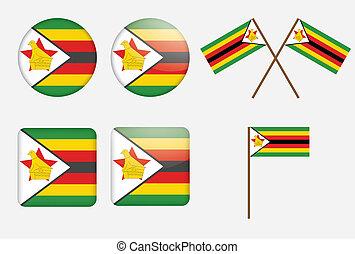 badges with flag of Zimbabwe