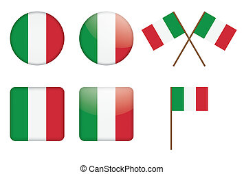 set of badges with Italian flag vector illustration