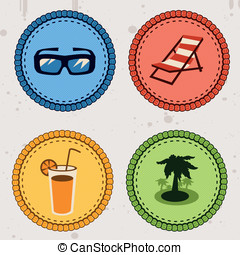 summer holiday icons in retro style