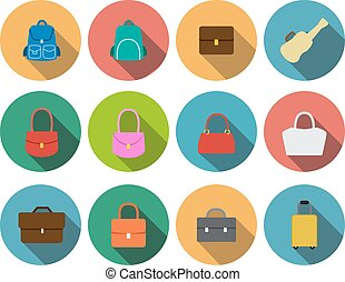 Set of bag icons in flat style, vector