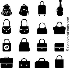 Set of bag icons in silhouette style