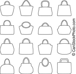 Set of bag icons, vector illustration