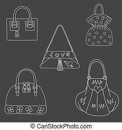 Set of bags on white background