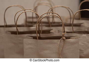 Set of bags with brown paper for holiday gifts