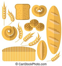 Set of Bakery Products Icons Isolated on White Background....