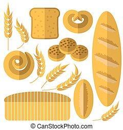 Set of Bakery Products Icons Isolated on White Background....