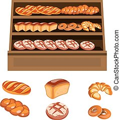 Set of bakery products on wooden shelves