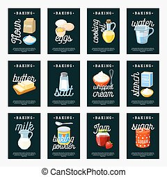 Set of baking ingredients tags - flour/eggs/cooking oil/water/butter/salt/cream/starch/milk/baking powder/jam/sugar. Chalkboard design template labels. Vector illustration, isolated on white.