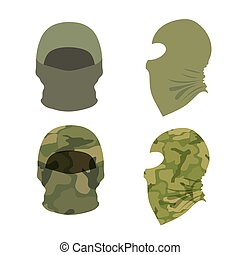 Set of balaclava caps on a white background. Vector illustration