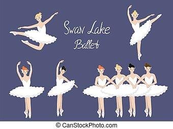 Set of ballerinas swan lake ballet . Vector graphics.