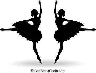 Set of Ballet dancers silhouette
