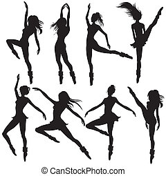 ballet-dancers silhouettes - set of ballet-dancers...