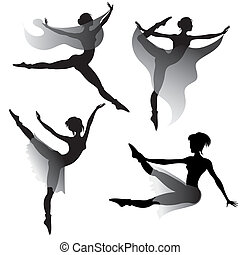 set of ballet-dancers silhouettes dancing modern ballet